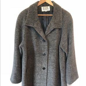 Bill Blass Gray Alpaca Merino Wool Long Dress Coat